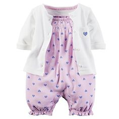 Carters 2 Piece Romper Set Lilac Heart New Born -- Read more reviews of the product by visiting the link on the image.
