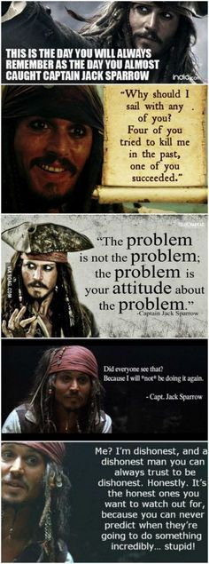Some awesome Captain Jack Sparrow quotes to brighten your day! - - Some awesome Captain Jack Sparrow quotes to brighten your day! – (Favorite … Witzig Some awesome Captain Jack Sparrow quotes to brighten your day! Captain Jack Sparrow, 9gag Funny, Jack Sparrow Quotes, Jack Sparrow Funny, Funny Quotes, Funny Memes, Geek Quotes, Funny Videos, Jokes