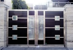 Pictures Of Front Gates For Homes Doubtful Interior Futuristic Stainless Steel Home Decorating Design Ideas 24 Modern Main Gate Designs, Iron Main Gate Design, Home Gate Design, Grill Gate Design, House Main Gates Design, Steel Gate Design, Front Gate Design, Main Door Design, Front Doors