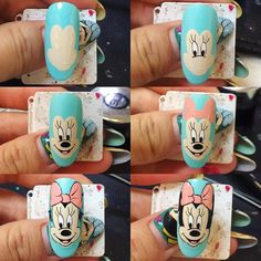 Cartoon Nail Designs, Nail Art Designs, New Nail Art, Cute Nail Art, Nail Art Modele, Comic Nail Art, Disney Inspired Nails, Mickey Mouse Nails, Nail Drawing