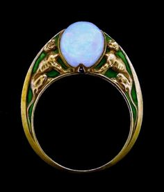 René Lalique opal and enamel ring.