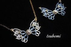 tatted/beaded butterfly necklace More