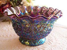 Daisy  Button Carnival Glass Bowl Smith by AntiquesAndArtifacts