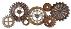 Exposed Gears Multiple Wall Clock Collage | Long Brown Gold Silver *** Be sure to check out this awesome product.