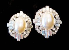 Spectacular Faux Pearl and Rhinestone Clip Earring by MullerGlass on Etsy