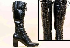 7f7a3b575378 60s Vtg Jet Black Knee High Soft LEATHER Lace Up GoGo Boots   Cut Out  Detail MOD Hippie Luxurious 7.5 7 Eu 38 37.5. Etsy