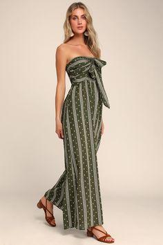 100324958b3 Lulus | Raine Olive Green Print Strapless Jumpsuit | Size Small | 100% Rayon