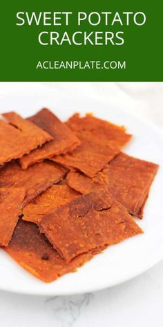 These Sweet Potato Crackers contain only a handful of ingredients and are simple to make. They're also gluten-free, dairy-free, egg-free, nut-free, and autoimmune protocol-friendly! Sweet Potato Crackers Recipe, Sweet Potato Recipes, Paleo Crackers Recipe, Cracker Recipe, Sweet Potato Bread, Paleo Sweet Potato, Gluten Free Recipes, Vegan Recipes, Cooking Recipes