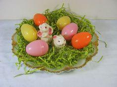 Vintage Milkglass Egg Plate EASTER Fire by LavenderGardenCottag