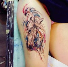 Horse Tattoo by Michalina Bolach #falkaart #horse #horseart #watercolor #tattoo #horsetattoo
