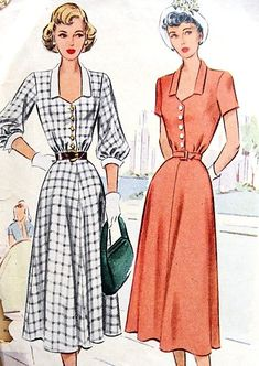 1940s PRETTY Dress Pattern McCALL 7289 Cute Figure Flattering Style,Two Sleeve Versions Bust 30 Vintage Sewing Pattern
