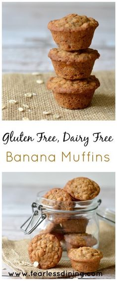 Gluten Free, Dairy Free Banana Muffins are a great way to use up those mashed bananas!! Nutritious and delicious, these muffins make a delicious breakfast. #glutenfreebananabread #glutenfreemuffins #glutenfreerecipe Recipe www.fearlessdining.com