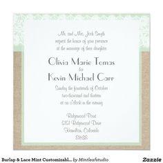 Burlap & Lace Mint Customizable Wedding Invitation