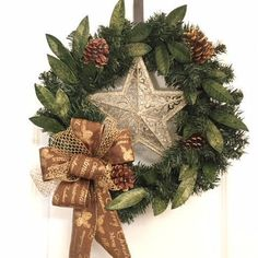 Gold Christmas Wreath, Artificial Wreath, Wreath for front door, Holiday Wreath, Gold Star, Kurt Adler, Gold Christmas, Classic Christmas by GertiesWreaths on Etsy Outdoor Christmas Wreaths, Cozy Christmas, Holiday Wreaths, Christmas Crafts, Christmas Ideas, Nightmare Before Christmas Decorations, Xmas Decorations, Christmas Wonderland, Wreaths For Front Door