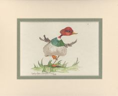 Prancing Duck 8 x 10 double matted watercolor by CShoresInc