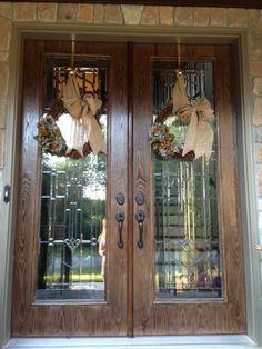 Our front doors + my DIY hydrangea and burlap wreaths