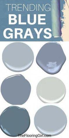 Bluish Gray Paint, Blue Gray Paint Colors, Gray Blue Paints, Paint Colours, Blue Gray Walls, Beach Paint Colors, Blue Gray Bedroom, Blue Bedrooms, Neutral Paint