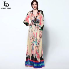 Autumn Women Casusl Dresses Runway Brand Florla Print Knee Length Dress Like it? www.storeglum.com... #shop #beauty #Woman's fashion #Products