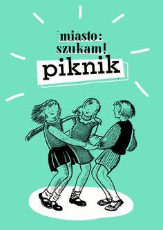 "PIKNIK ""Miasto: szukam!"" proj. Julia Parchimowicz. #ulotka, #turkus, #piknik"