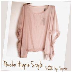 Hippie style Poncho rose poudré à frange pour cacher les rondeurs avec style et douceur grâce a la SOIE mélangée