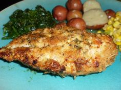 Oven Baked Parmesan-Romano Chicken    								Parmesan and Romano cheeses combined with Italian-seasoned breadcrumbs create a golden brown crispy coating for this chicken. I have also used Asiago cheese in place of the Parmesan.