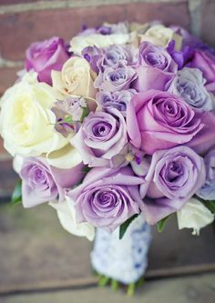 This bouquet featuring different shades of purple roses is so pretty for a spring wedding. For more wedding bouquet inspiration. Purple Wedding Bouquets, Lilac Wedding, Bride Bouquets, Bridal Flowers, Flower Bouquet Wedding, Spring Wedding, Wedding Colors, Lavender Bouquet, Rose Bouquet