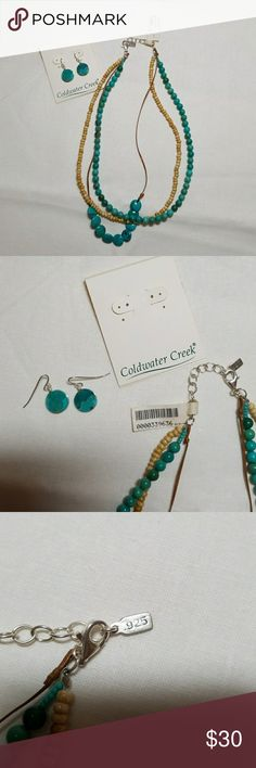 "Turquoise triple strand necklace and earrings This triple strand necklace and earrings are by Coldwater Creek. They are new with tags. The necklace is 17"" long. The clasp and chain is Sterling Silver as are the earring posts. Cold water Creek Jewelry Necklaces"