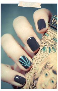 dark grey with teal stripe on one nail...LOVE this.