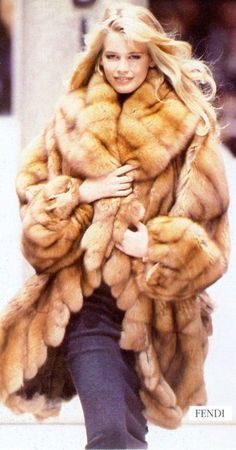 Claudia Schiffer in a very pretty sable. Russian Siberian sable fur #anandco #furonline #furfasion