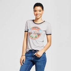 Jump into rocking style with the Van Halen® Graphic Ringer Tee. This gray graphic tee keeps things cool with the Van Halen graphic, washed out style and contrasting trim. Keep things casual and cool with skinny jeans and sneakers for a fun day out.