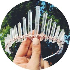 This beautiful crystal Quartz crown is made with the tallest of crystals to really stand out and make you look and feel like an absolute