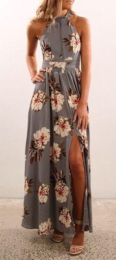 #spring #outfits Grey Floral Maxi Dress