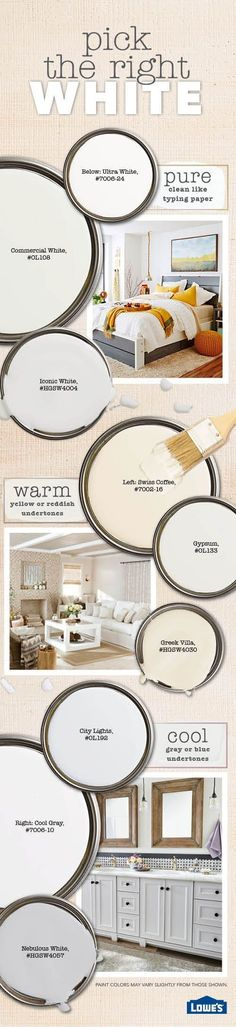 White paint opens up and freshens spaces, it's versatile, and it sets a mood. But it is nuanced - different shades of white do this in different ways. Here's how to pick the best white paint color - warm, pure, or cool - for your rooms and color schemes. #homeimprovementseason3,