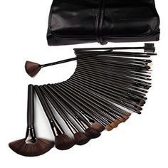 32 PCS Makeup Brush Set Soft Black Pouch Bag ** To view further for this item, visit the image link.