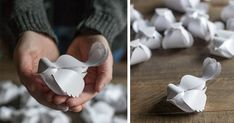 Detailný návod ako z papiera vytvoriť vtáčika (alebo celý kŕdeľ hrdličiek)   šablóna. Papierový vtáčik - roztomilá papierová dekorácia v podobe zamilovaných hrdličiek sa hodí na každú príležitosť. Na svadbe zažiaria rovnako ako počas Valentína, na Deň matiek, Vianoce alebo ako jarná dekorácia.