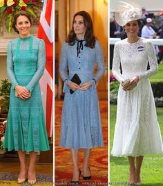 """royal-roaster: """"""""Kate in lace midi dresses """" """" Kate Middleton Outfits, Looks Kate Middleton, Estilo Kate Middleton, Princess Kate Middleton, Kate Middleton Prince William, Prince William And Kate, Duchesse Kate, Queen Kate, Look Formal"""