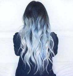 Blue icy ombre hair
