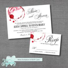 Wine Wedding Invitation RSVP Card Printable Wedding By Joytations