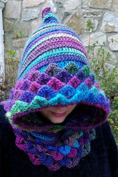Your place to buy and sell all things handmade Crochet Kids Scarf, Crochet Hooded Scarf, Crochet Yarn, Crochet Shawl, Loom Knitting, Knitting Patterns, Crochet Patterns, Stitch Witchery, Crochet Dragon