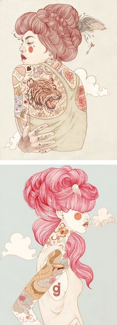 2.0 Beauty Pin-ups – by Liz Clements ( @Lsbeth )#art #Pinup #beauty #raw #love #tattoo♥♥