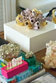 Barnacle box - barnacles gold leafed and set on a fabulous white lacquered box!