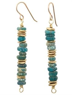 Shades of turquoise ancient glass with brass accent earrings. Bronze ear wires. 2 inches long #seaglassearrings #JewelryIdeas