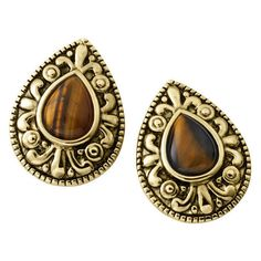 Giani Tiger Eye Gold Plated Earrings (£8) ❤ liked on Polyvore