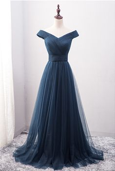 A-line Off Shoulder V-neck Tulle Prom Dress
