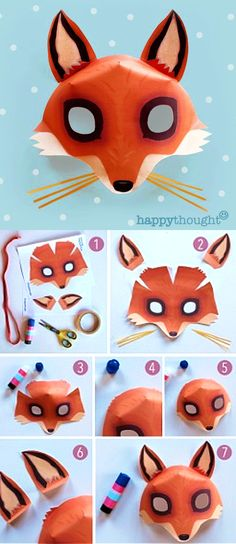 Make Your Own Fantastic Fox Mask Printable Template At Free Animal Masks For Kids, Animals For Kids, Mask For Kids, 3d Paper Art, Cool Paper Crafts, Fun Crafts, Animal Mask Templates, Printable Animal Masks, Gato Origami