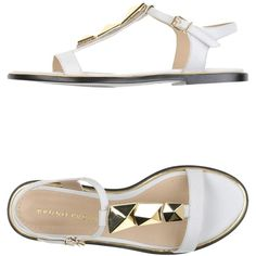 Bruno Premi Sandals ($53) ❤ liked on Polyvore featuring shoes, sandals, white, white leather sandals, flat shoes, white studded sandals, buckle sandals and studded flat shoes