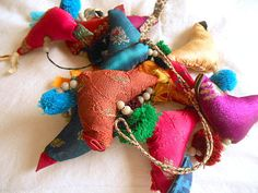 Vintage colorful stuffed bird hanging