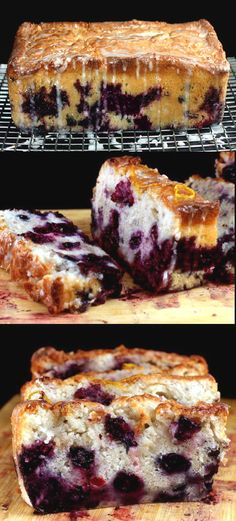 Super Moist Smashed Blueberry Lemon Loaf Cake made with Nonfat Greek Yogurt. Youd never know this cake was 95% fat free! #dessert #recipe #treat #recipes #easy
