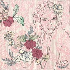 Illustration on Vintage Wallpaper by Claire Coles