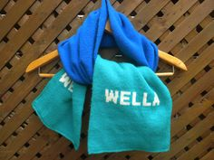 Vintage 70s Wella Scarf Blue Green Clorblock by DJVboutique